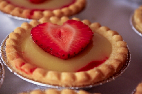 nothing says love better than a strawberry heart on a tart.